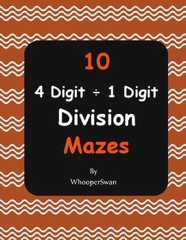 4-Digit ÷ 1-Digit Division Maze