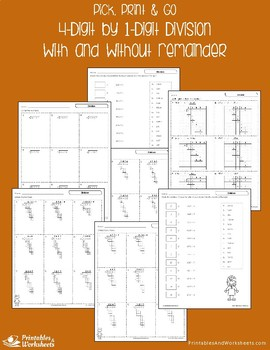 4 Digit / 1 Digit Division Worksheets With and Without Remainder