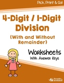 4 By 1 Division Worksheets, 5th Grade Math Homework On Dividing Numbers