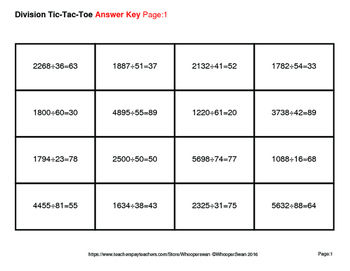 4-Digit by 2-Digit Division Tic-Tac-Toe