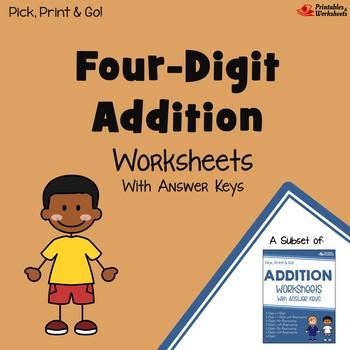 4 Digits Addition Homework, 4 Digit Addition Center Worksheets