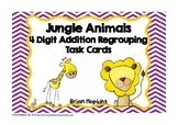 4 Digit Addition Regrouping Jungle Animals Task Cards