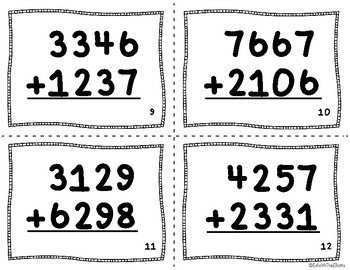 4-Digit Addition Task Cards