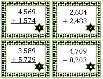 4 Digit Addition Task Cards With Regrouping
