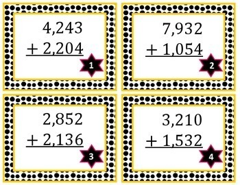 4-Digit Addition Task Cards Without Regrouping