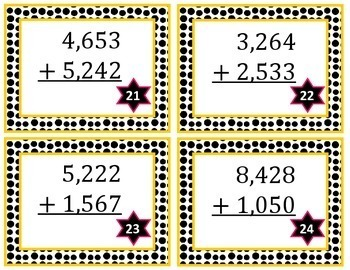 4 Digit Addition Task Cards Without Regrouping