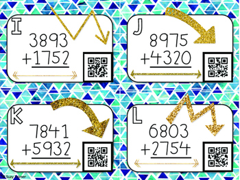 4 Digit Addition Task Cards with QR Codes