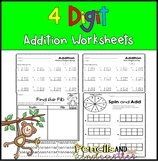 4-Digit Addition Regrouping and No Regrouping Worksheets