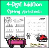 4-Digit Addition Worksheets Spring Theme