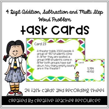 4 Digit Addition and Subtraction Task Cards