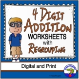 4 Digit Addition Worksheets with Regrouping