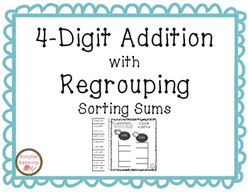 4-Digit Addition with Regrouping Sort, Cut, and Paste