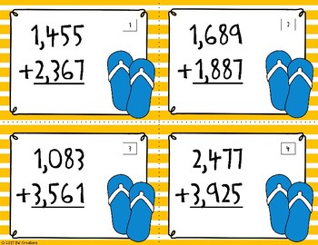 4-Digit Addition with Regrouping {Summertime}