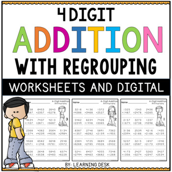 4 Digit Addition with Regrouping Worksheets