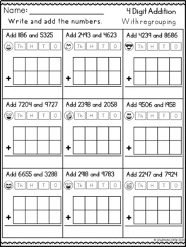 4 digit addition with regrouping worksheets by learning. Black Bedroom Furniture Sets. Home Design Ideas