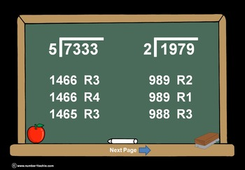 4 Digit Divided By 1 Digit Division PowerPoint Quiz + Matching Worksheet & Key!