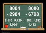 4 Digit Minus 4 Digit Across Zeros-PowerPoint Quiz - Matching Worksheet & Key!