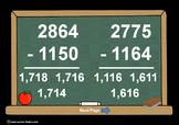 4 Digit Minus 4 Digit NO Regrouping-PowerPoint Quiz - Matching Worksheet & Key!