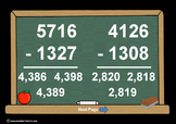 4 Digit Minus 4 Digit Subtr. PowerPoints+MatchingWkshts &Keys-BUNDLE of 4 PP's!