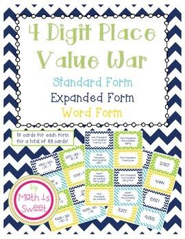 4 Digit Place Value War
