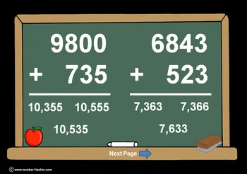 4 Digit Plus 3 Digit WITH Regrouping-PowerPoint Quiz - Mat