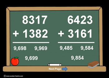 4 Digit Plus 4 Digit NO Regrouping-PowerPoint Quiz - Match