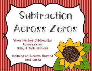 4 Digit Subtraction Across Zeroes {Autumn Theme}