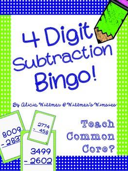 4-Digit Subtraction Bingo {Regrouping & Non-Regrouping}