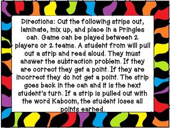 4-Digit Subtraction Kaboom Game