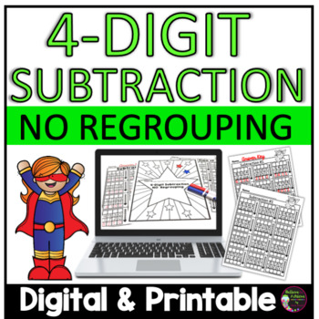 4-Digit Subtraction N0 Regrouping Worksheets