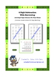 4 Digit Subtraction With Borrowing / Regrouping & Lines For Place Value
