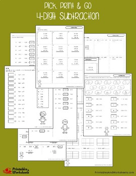 4 Digit Subtraction Worksheets With Answer Keys