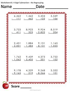 4 Digit Subtraction Worksheets no Regrouping