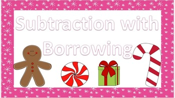 4 Digit Subtraction w/ Borrowing Christmas Themed