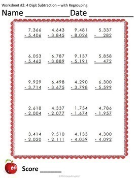 4 Digit Subtraction with Regrouping