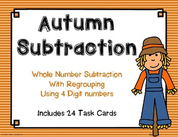4 Digit Subtraction with Regrouping {Autumn Theme}