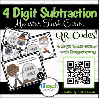 4 Digit Subtraction with Regrouping Monster Task Cards