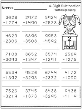 4 Digit Subtraction with Regrouping Worksheets