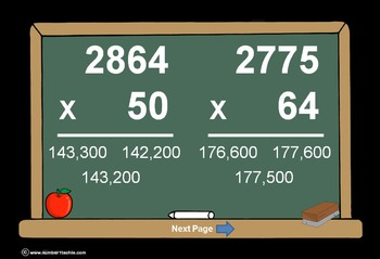 4 Digit Times 2 Digit Multiplication PowerPoint Quiz - Matching Worksheet & Key!