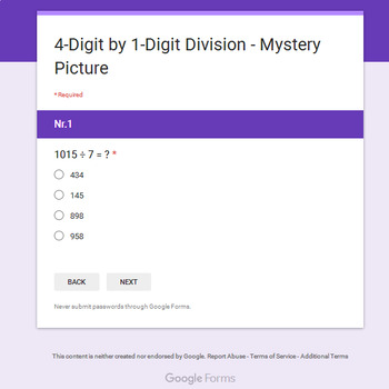 4-Digit by 1-Digit Division - Animals Mystery Picture - Google Forms