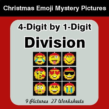 4-Digit by 1-Digit Division - Christmas EMOJI Color-By-Number Mystery Pictures