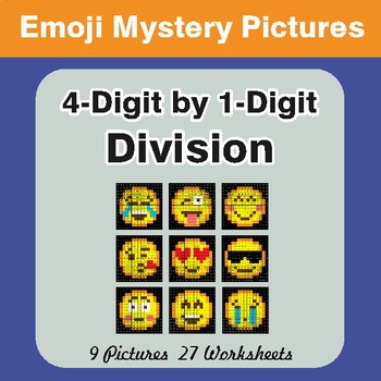 4-Digit by 1-Digit Division Color-By-Number EMOJI Mystery Pictures