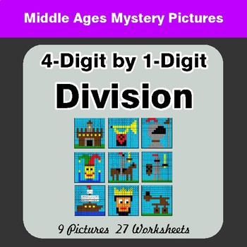 4-Digit by 1-Digit Division - Color-By-Number Math Mystery Pictures