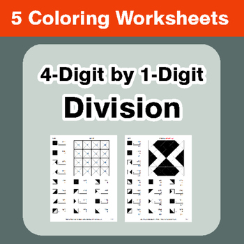 4-Digit by 1-Digit Division - Coloring Worksheets