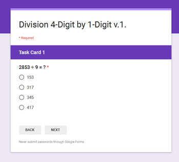 4-Digit by 1-Digit Division - Interactive Digital Task Cards - Google Forms