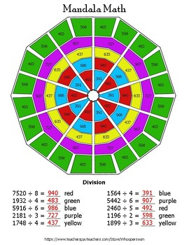 4-Digit by 1-Digit Division Mandala Math Color by Number