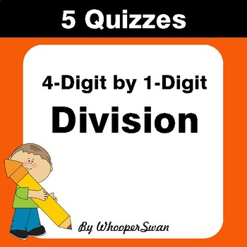 4-Digit by 1-Digit Division Quiz - Test - Assessment - Worksheet