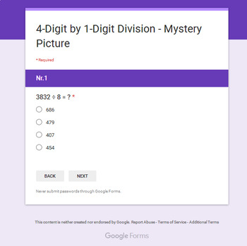 4-Digit by 1-Digit Division - Superhero Mystery Picture - Google Forms