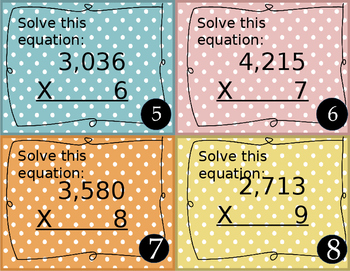 4 Digit by 1 Digit Multiplication Task Cards