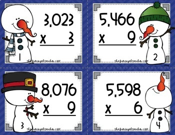 4 Digit by 1 Digit Multiplication Task Cards - Snowman Theme